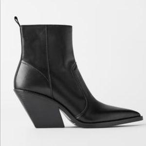 Zara Genuine Leather Cowboy Boots 9